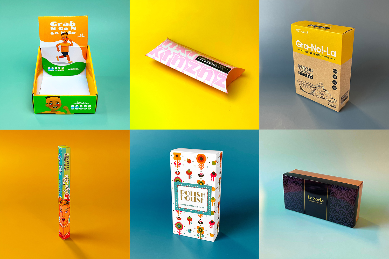 mosaic of examples of custom printed packaging by PrintNinja